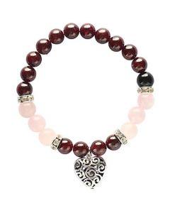 Bracelet Garnet & Rose Quartz with heart pendant