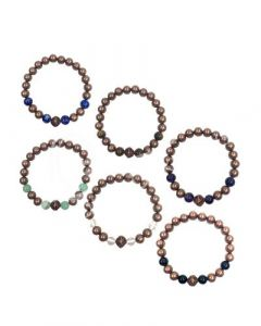 Bracelet Copper beads with stones pack of 6