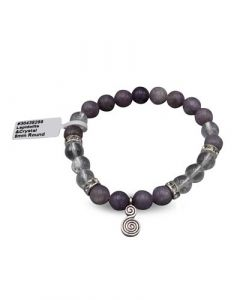 Bracelet Lepidolite with crystal double spiral (8mm)