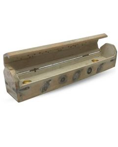 Wooden Incense Box White with Iron Inlay