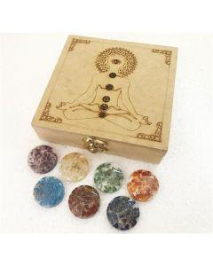 Buddha etched chakra box with orgone chakra disc set