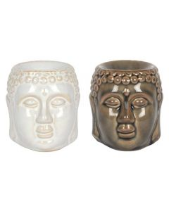 8CM BUDDHA HEAD OIL BURNER 2 PCS BLACK AND WHITE