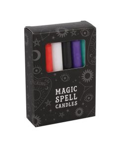 Pack of 12 Mixed Colour Spell Candles.