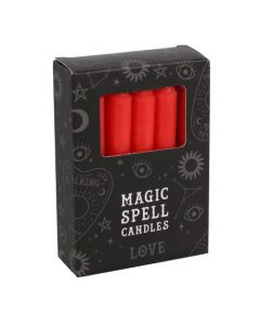 Pack of 12 Red 'Love' Spell Candles.