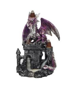 Purple Dragon on Castle Backflow Incense Burner