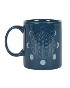 The Moon Phase Flower Of Life Ceramic Mug