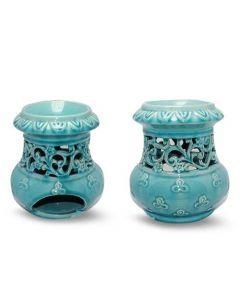 Turqoise aromaburner with elegant ornaments (12x17x18cm)