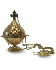 Hanging incense burner brass with cross (22cm)