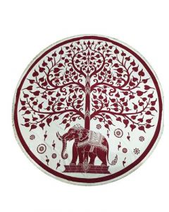 """Round Cotton Tapestry 72"""" ELEPHANT & TREE (red)"""