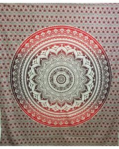 """Cotton Tapestry Double  90""""x 90"""" LOTUS MANDALA (red & brown)"""