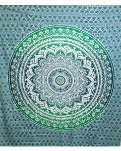 "Cotton Tapestry Double  90""x 90"" LOTUS MANDALA  (green)"