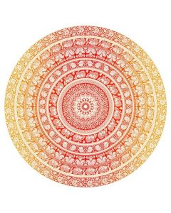 """Round Cotton Tapestry 72"""" ELEPHANT  (yellow)"""