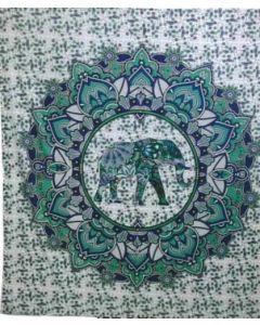 """Cotton Tapestry Double  90""""x 90""""  ELEPHANT (green)"""