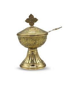 Incense Cup w/spoon 5'' x ''3 - Brass Polish