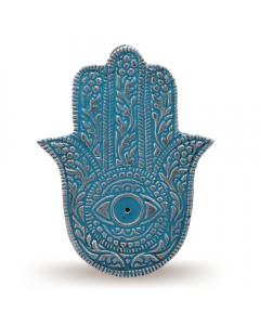 Porta incienso Mano de Fátima turquesa de color esmalte de aluminio