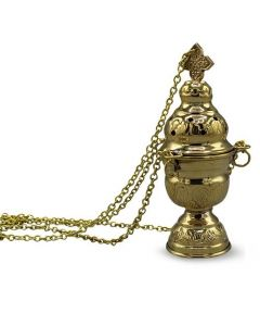 Incense Burner with Cup & Tong - Brass Polish