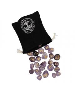 Amethyst Rune Viking with Velvet Bag 25 pcs