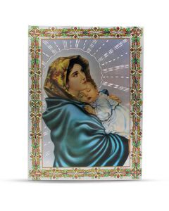 Aluminium Plate Virgin Mary And Jesus 30 X 42
