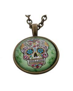 Lucky Pendant Skull in Green  22mm