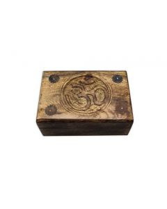 OM handcrafted wooden box