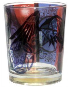 Printed Glass Votive Holder - Pentacle Raven