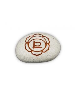 Pebble - Engraved River stone 2th chakra Orange