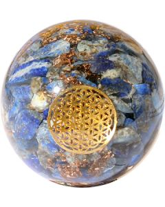 ORGONITE SPHERE LAPIS INSIDE WITH FLOWER OF LIFE