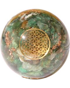 ORGONE SPHERE GREEN AVENTURINE INSIDE WITH FLOWER OF LIFE