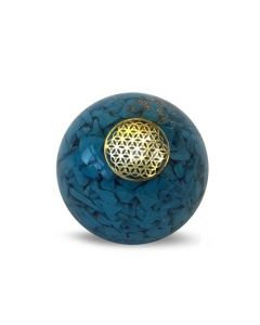 Orgonite Sphere Turquoise Inside With Flower Of Life