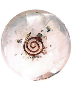 Orgonite Sphere Selenite Inside With Copper Spiral