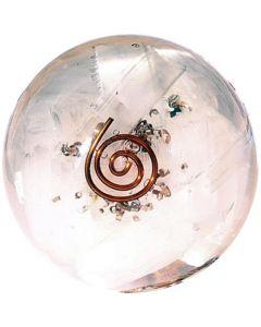 Selenita De Esfera De Orgonita En El Interior Con Espiral De Cobre