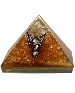 Orgonite Pyramid Citrine & Clear Quartz Inside With Angel 40