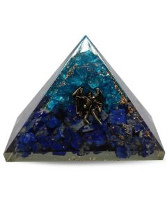Orgonite Pyramid Lapis & Aquamarine Inside With Angel 40 mm