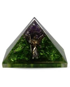 Orgonite Pyramid Perridot & Amethyst With Angel 40 mm