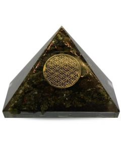 Large Orgonitee Pyramid - Epidot, Flower Of Life 40 mm