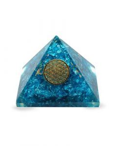 Small Orgonite pyramid Blue Topaz Flower of Life