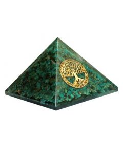 Orgonite Pyramid - Chrysocolla, Tree of life 40 mm