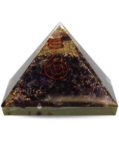 Orgonite pyramid- Amethyst with Crystal 40 mm