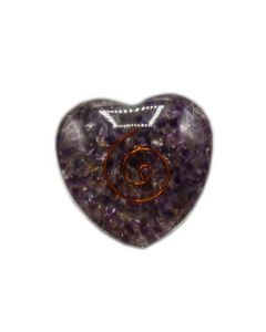 Orgonite Heart Amethyst Inside With Copper Spiral