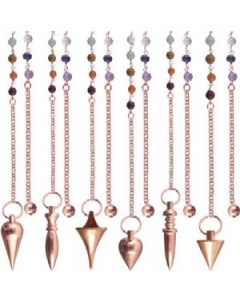 Metal Pendulum Chakra Chain Assorted Shapes Copper