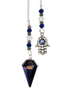 Agate Pendulum With Stone Beads - Blue Tiger Eye Hand