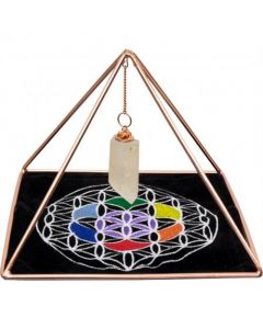 Copper Pyramid With Natural Crystal Point and Velvet Mat