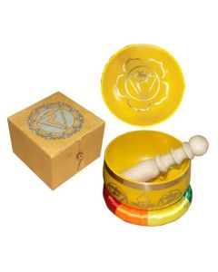 """Chakra Singing Bowl Yellow-Solar Plexus 5"""" dia --31246"""