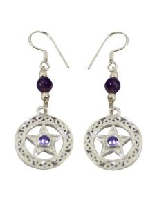 EARRINGS PENTACLE-AMETHYST