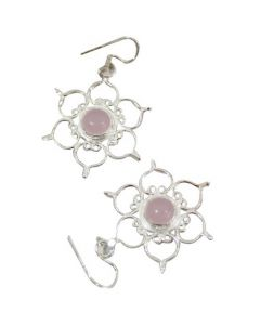 STERLING SILVER EARRINGS LOTUS-ROSE QTZ