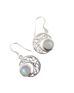 STERLING SILVER EARRINGS-CELTIC MOON RAINBOW MOONSTONE