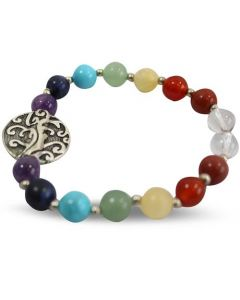 Bracelet with 7 Chakra bead and Tree of Life pendant