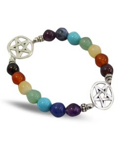 Bracelet with 7 chakra beads and Pentacle pendant