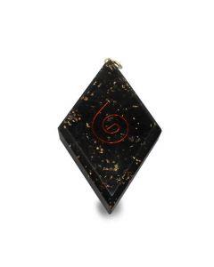 Orgone pendant diamond shaped Black Tourmaline with spiral