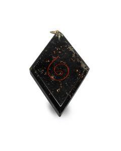Orgonite pendant diamond shaped shungit with spiral